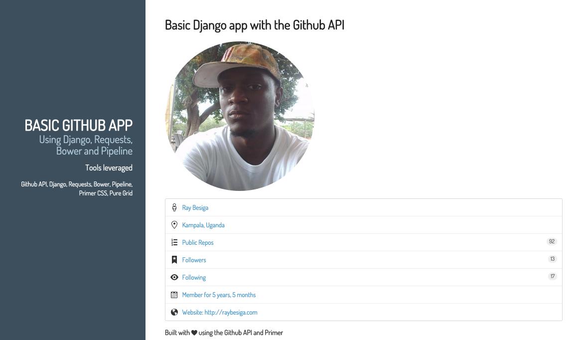 A basic Django app with the Github API | Ray Besiga